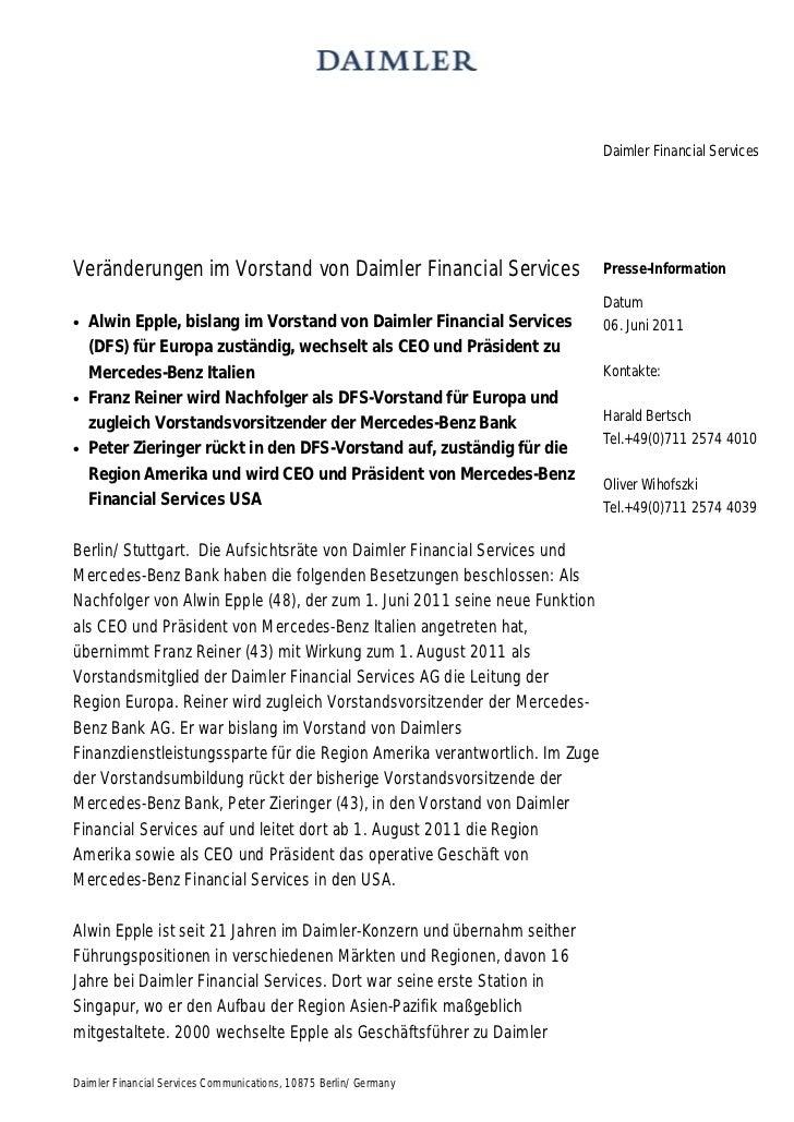 Daimler Financial ServicesVeränderungen im Vorstand von Daimler Financial Services                     Presse-Information ...