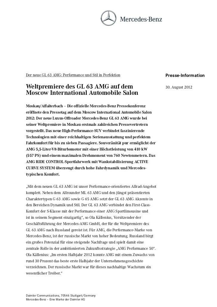 Der neue GL 63 AMG: Performance und Stil in Perfektion                         Presse-InformationWeltpremiere des GL 63 AM...