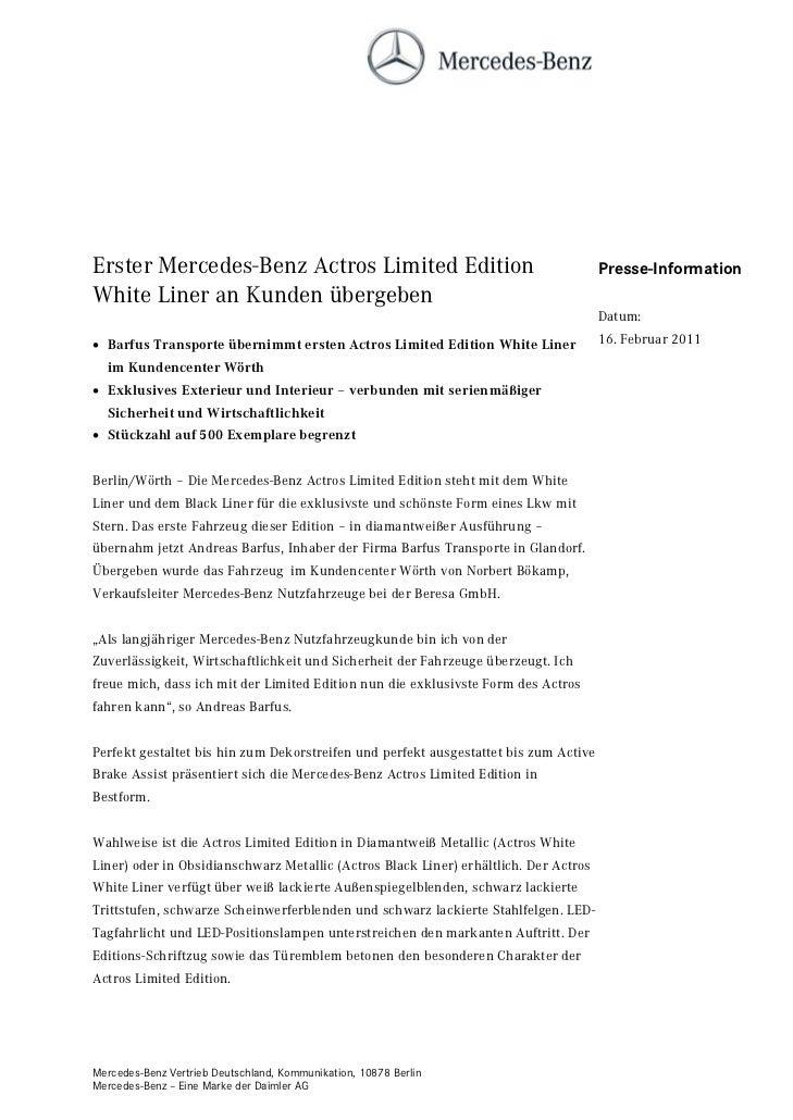 Erster Mercedes-Benz Actros Limited Edition                                           Presse-InformationWhite Liner an Kun...