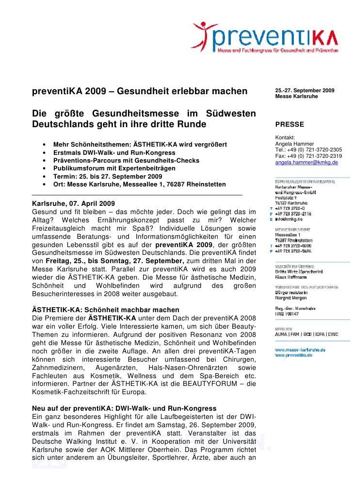 preventiKA 2009 – Gesundheit erlebbar machen                             25.-27. September 2009                           ...