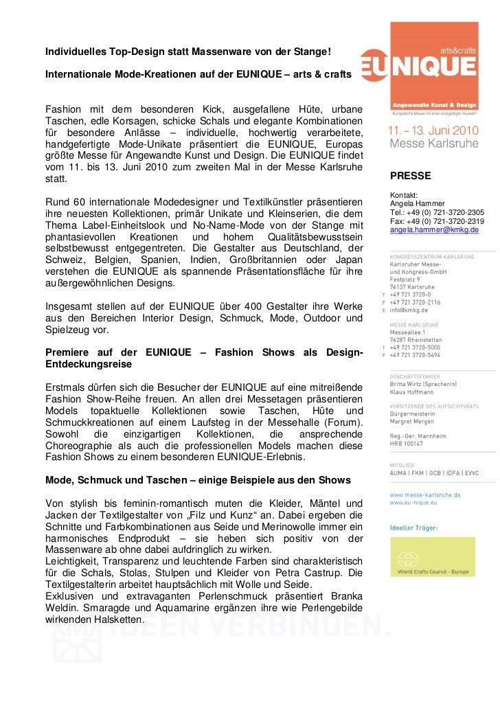 Individuelles Top-Design statt Massenware von der Stange!Internationale Mode-Kreationen auf der EUNIQUE – arts & craftsFas...