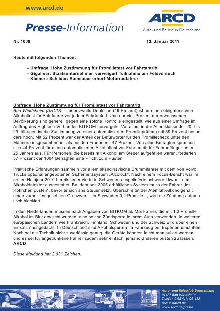 www.arcd.de      Presse-InformationNr. 1009                                                         13. Januar 2011Heute m...