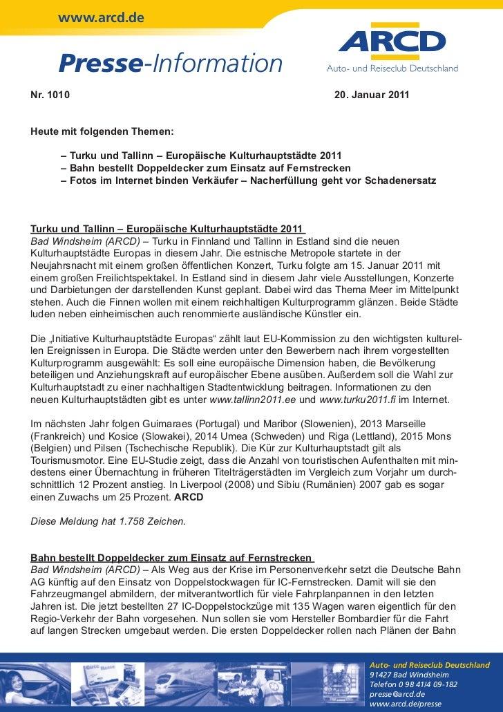 www.arcd.de      Presse-InformationNr. 1010                                                           20. Januar 2011Heute...