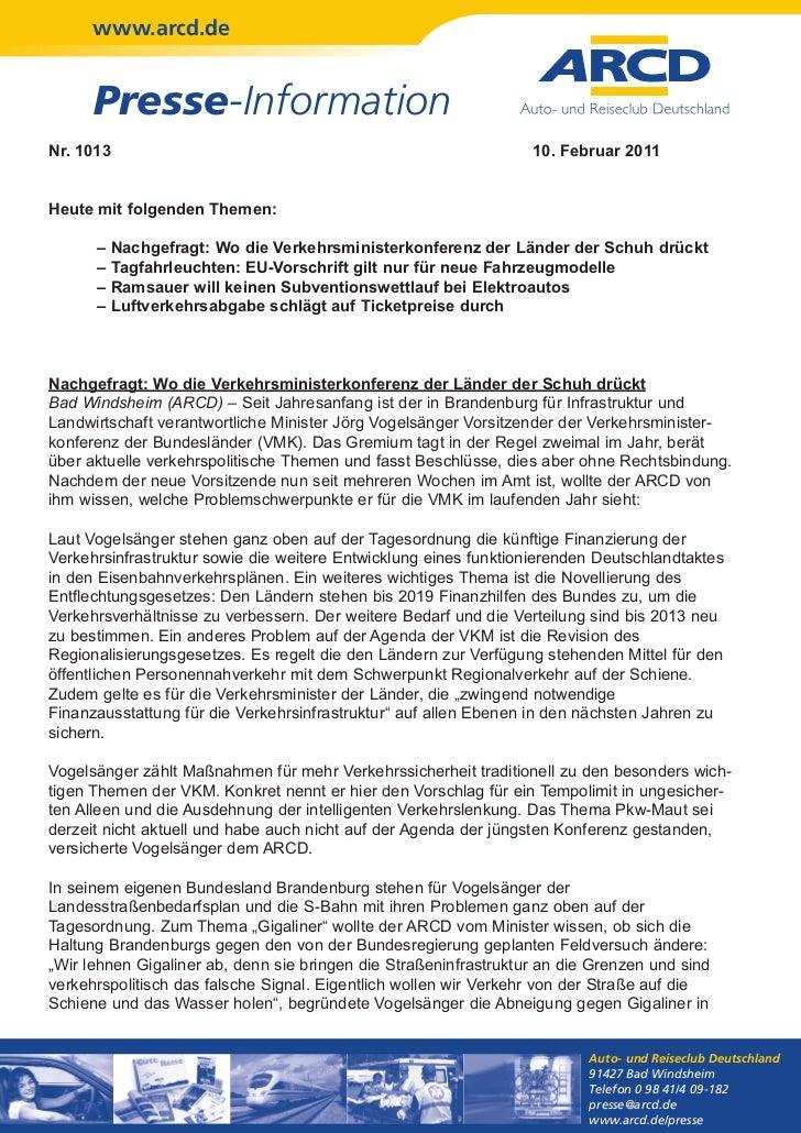 www.arcd.de      Presse-InformationNr. 1013                                                          10. Februar 2011Heute...