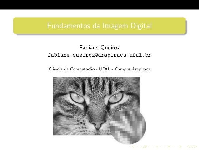 Fundamentos da Imagem Digital Fabiane Queiroz fabiane.queiroz@arapiraca.ufal.br Ciˆencia da Computac¸˜ao - UFAL - Campus A...