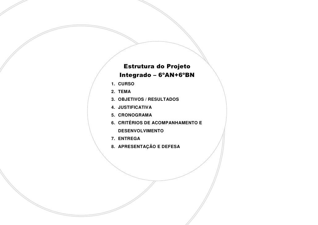 Estrutura do Projeto    Integrado – 6ºAN+6ºBN 1. CURSO 2. TEMA 3. OBJETIVOS / RESULTADOS 4. JUSTIFICATIVA 5. CRONOGRAMA 6....
