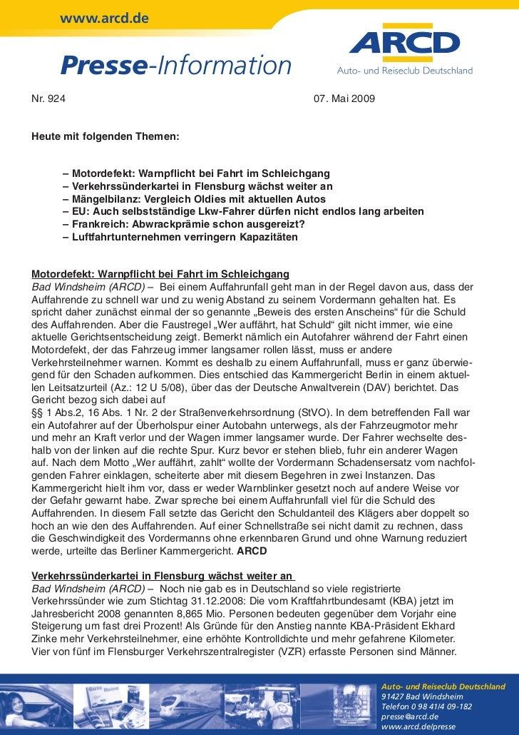 www.arcd.de      Presse-InformationNr. 924                                                    07. Mai 2009Heute mit folgen...