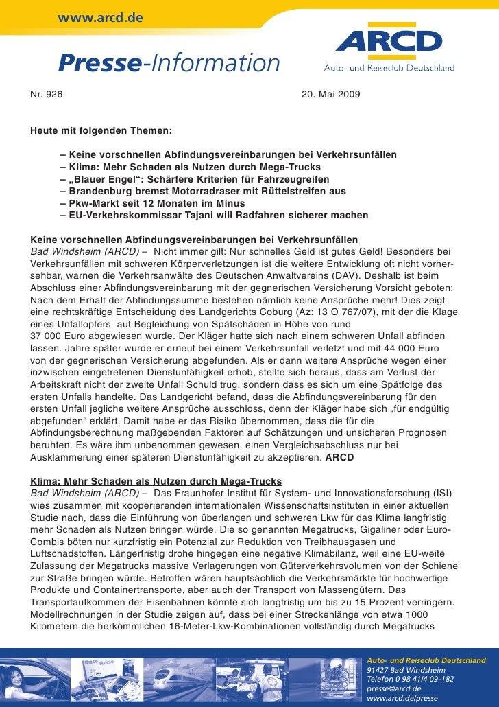 www.arcd.de      Presse-InformationNr. 926                                                    20. Mai 2009Heute mit folgen...