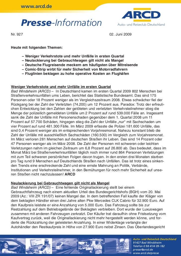 www.arcd.de      Presse-InformationNr. 927                                                    02. Juni 2009Heute mit folge...
