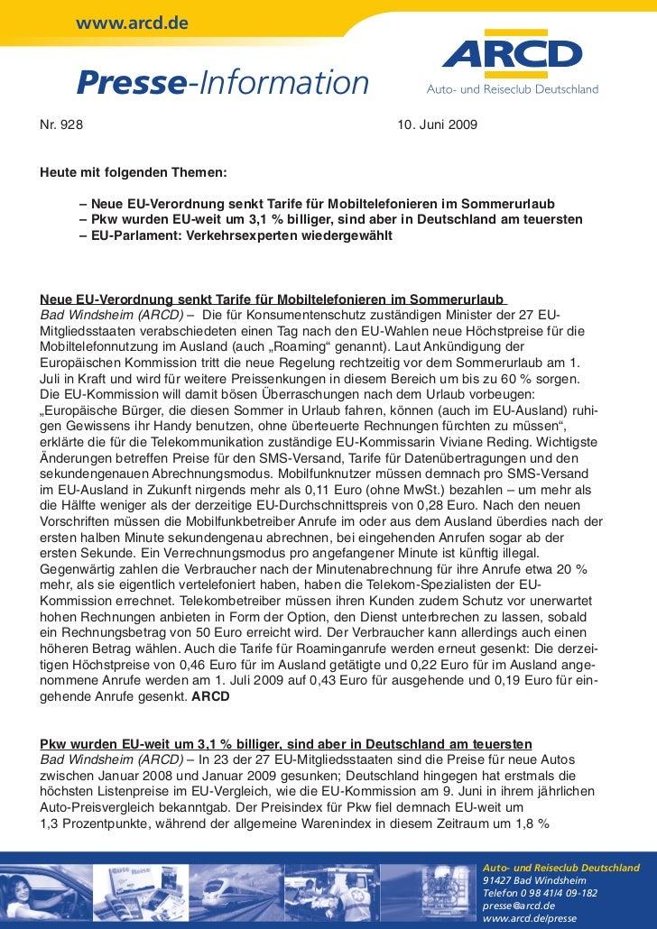 www.arcd.de      Presse-InformationNr. 928                                                   10. Juni 2009Heute mit folgen...