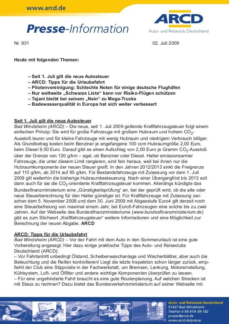 www.arcd.de      Presse-InformationNr. 931                                                            02. Juli 2009Heute m...