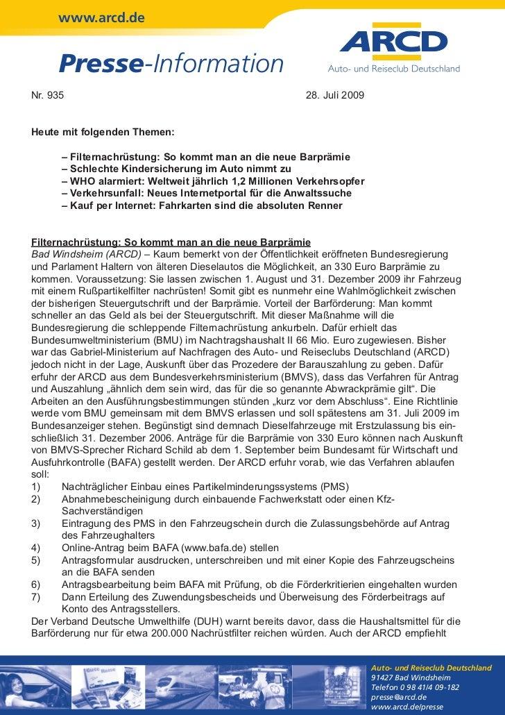 www.arcd.de     Presse-InformationNr. 935                                                   28. Juli 2009Heute mit folgend...