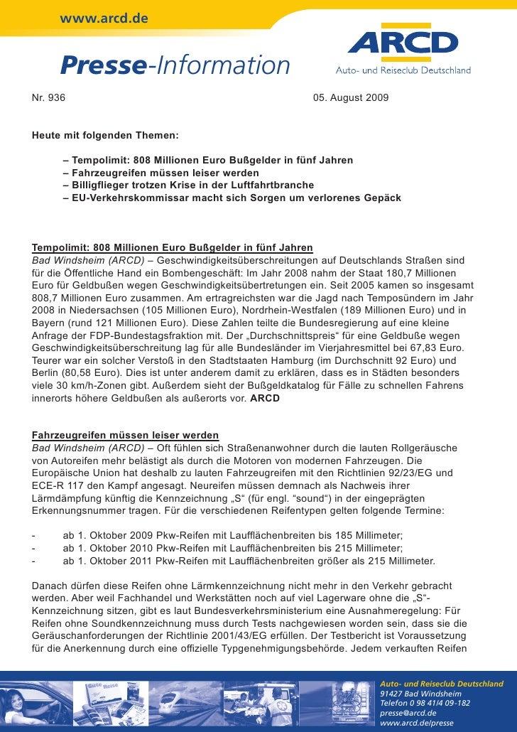 www.arcd.de     Presse-InformationNr. 936                                                    05. August 2009Heute mit folg...