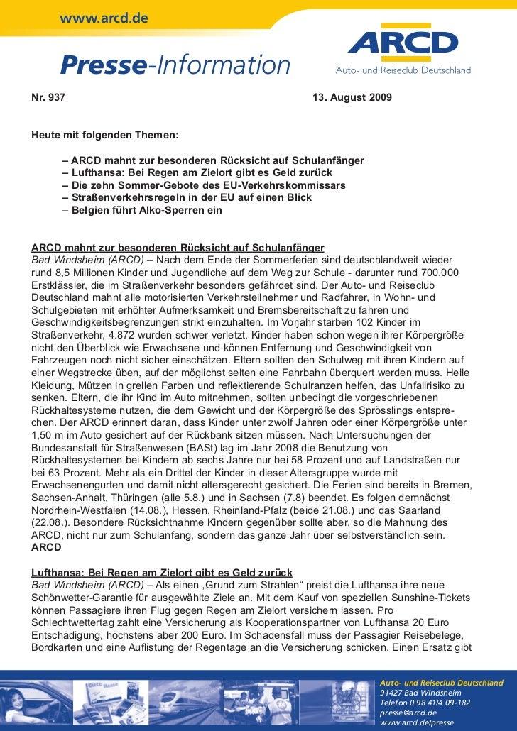 www.arcd.de      Presse-InformationNr. 937                                                    13. August 2009Heute mit fol...
