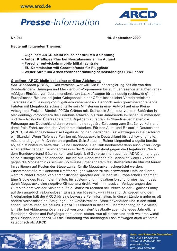 www.arcd.de     Presse-InformationNr. 941                                                   10. September 2009Heute mit fo...