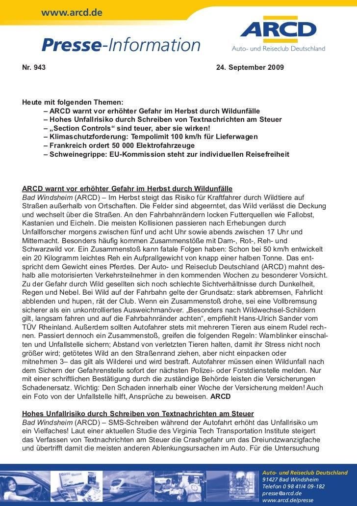 www.arcd.de      Presse-InformationNr. 943                                                      24. September 2009Heute mi...
