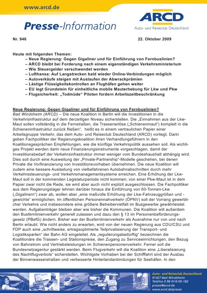 www.arcd.de      Presse-InformationNr. 946                                                            22. Oktober 2009Heut...