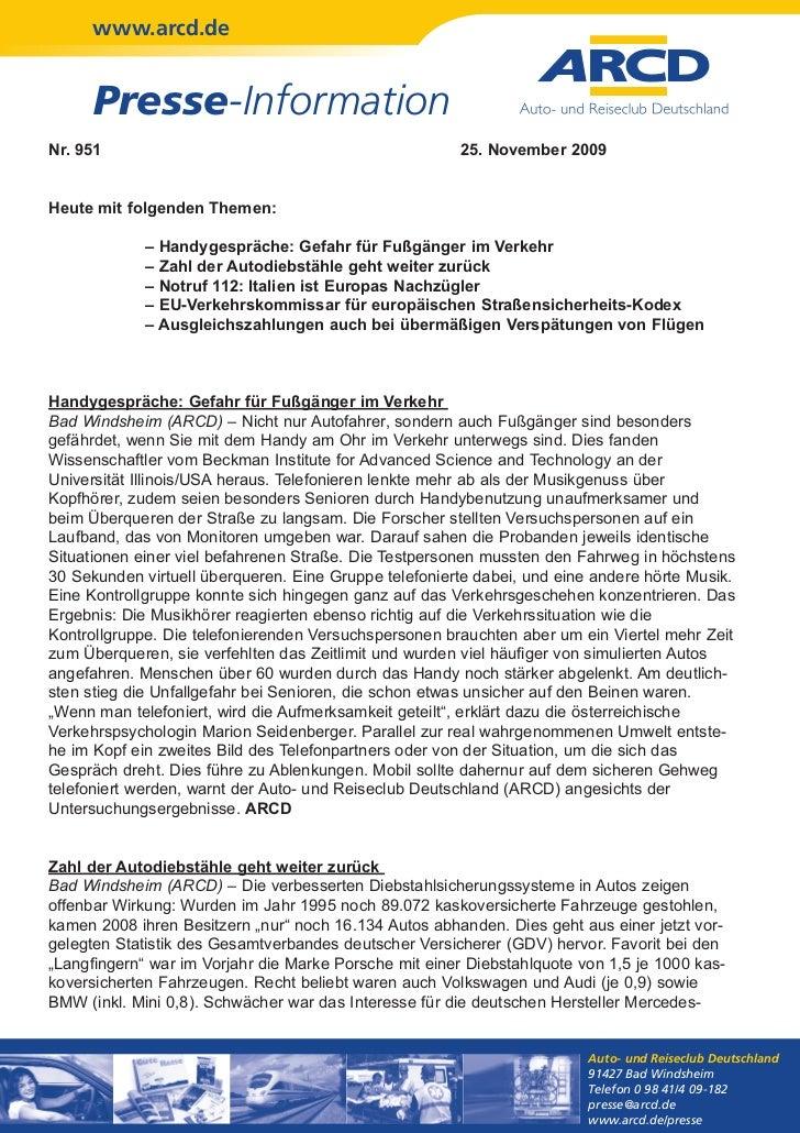 www.arcd.de      Presse-InformationNr. 951                                                25. November 2009Heute mit folge...