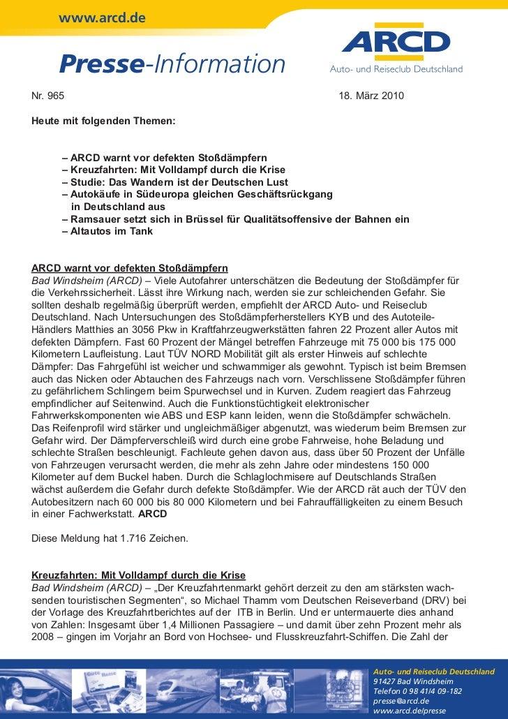 www.arcd.de     Presse-InformationNr. 965                                                         18. März 2010Heute mit f...