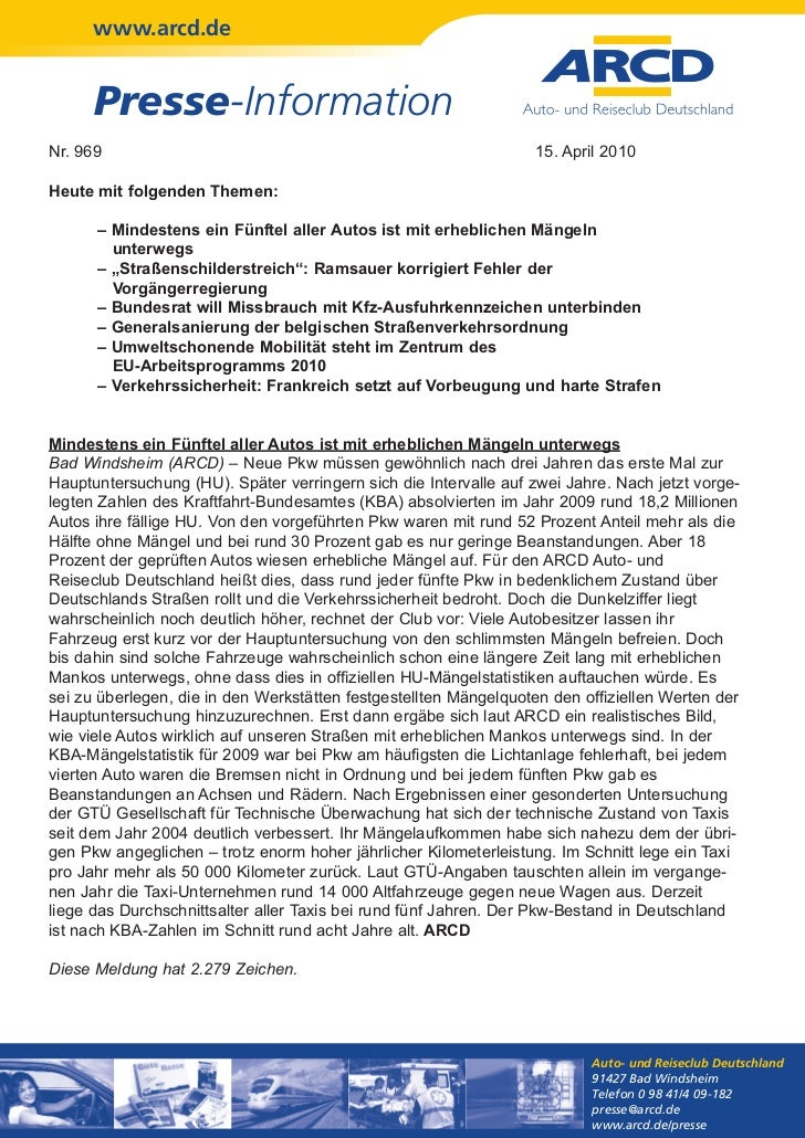 www.arcd.de      Presse-InformationNr. 969                                                           15. April 2010Heute m...