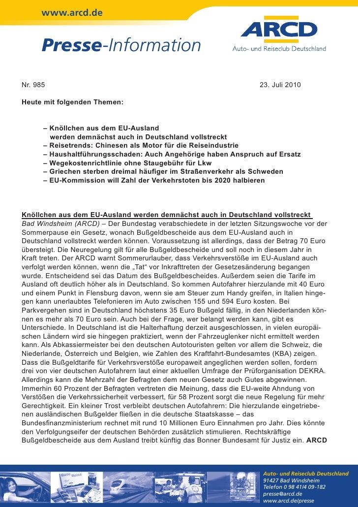 www.arcd.de      Presse-InformationNr. 985                                                                  23. Juli 2010H...