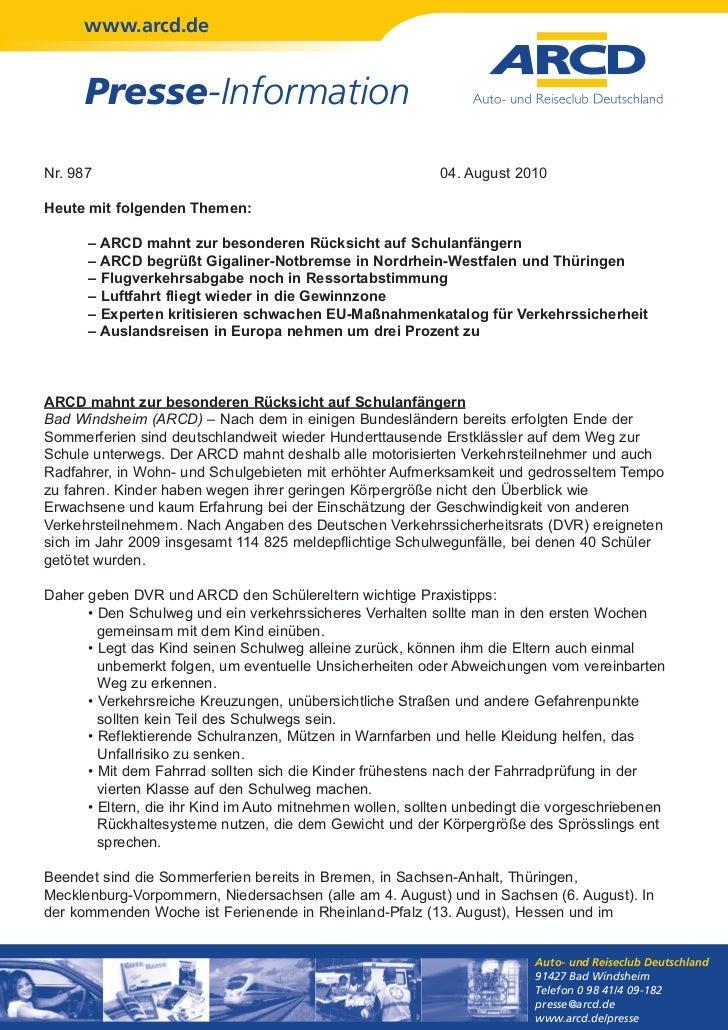 www.arcd.de      Presse-InformationNr. 987                                                    04. August 2010Heute mit fol...