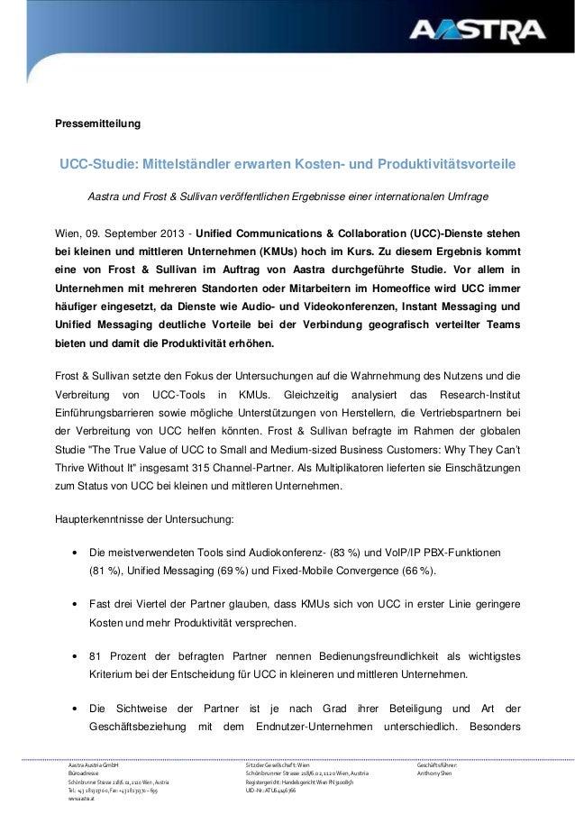 Pressemitteilung  UCC-Studie: Mittelständler erwarten Kosten- und Produktivitätsvorteile Aastra und Frost & Sullivan veröf...
