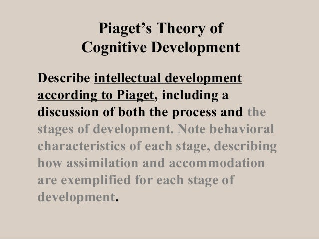 Piaget's Theory of Cognitive Development Describe intellectual development according to Piaget, including a discussion of ...