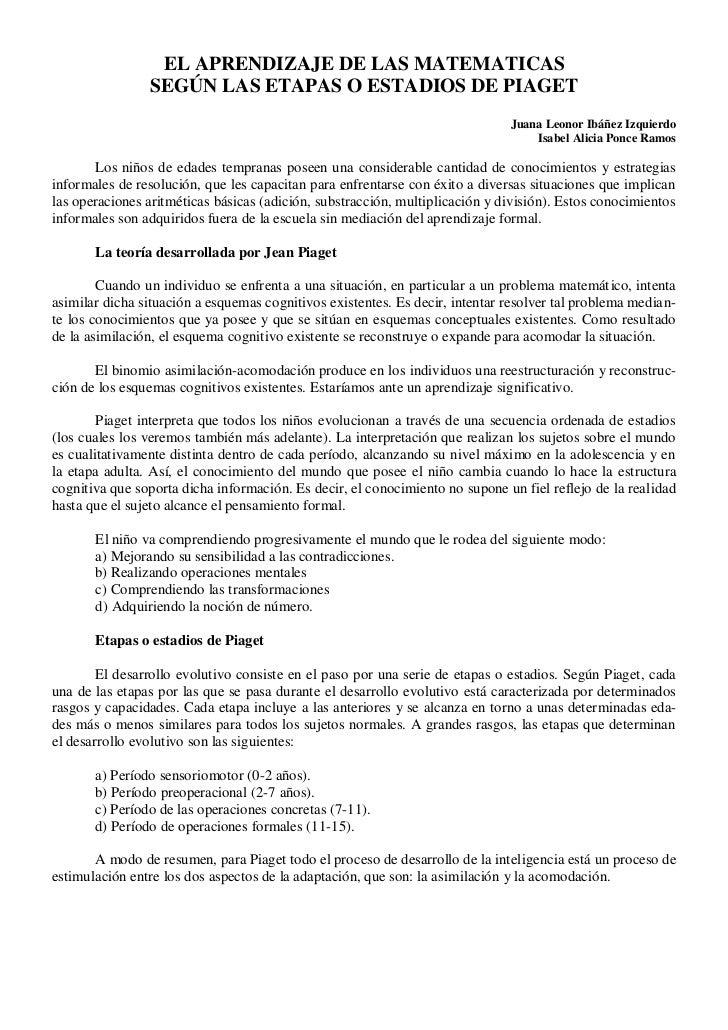 EL APRENDIZAJE DE LAS MATEMATICAS                SEGÚN LAS ETAPAS O ESTADIOS DE PIAGET                                    ...