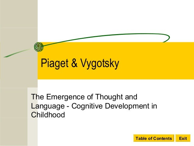 Table of Contents ExitPiaget & VygotskyThe Emergence of Thought andLanguage - Cognitive Development inChildhood