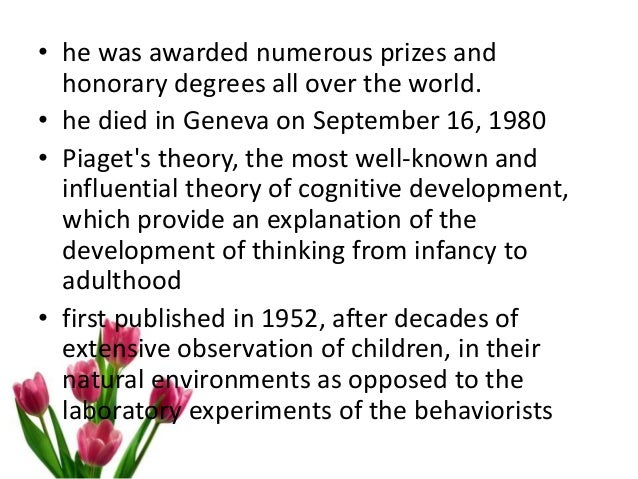 piagets four stages of cognitive development essay Theory of cognitive development and jean piaget this essay will analyse four limitations of piaget's theory and provide stages of cognitive development.