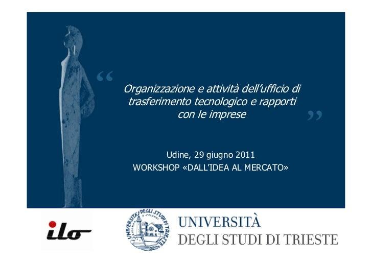 Organizzazione e attività dell'ufficio di trasferimento tecnologico e rapporti con le imprese (UniTS)