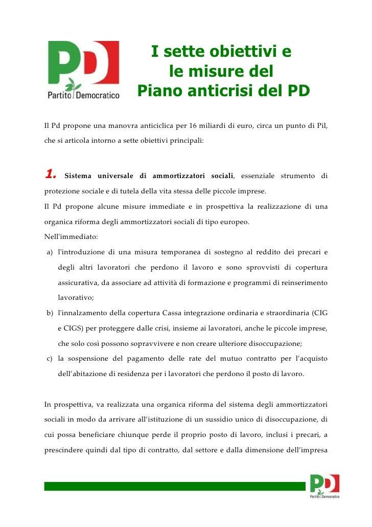 I sette obiettivi e                                    le misure del                               Piano anticrisi del PD ...