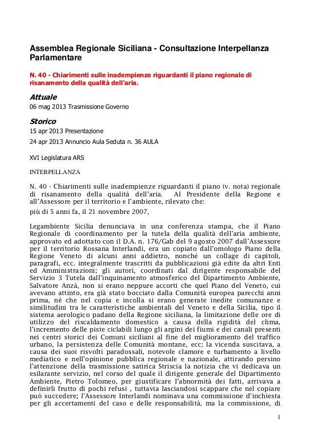 PIANO ARIA REGIONE SICILIA INTERPELLANZA RITIRO PIANO N 40 PRES 15 4 13 CROCETTA DELEGA ASS 4 6 13 ASSOC RITIRO PIANO PROVVED  SU ANZA