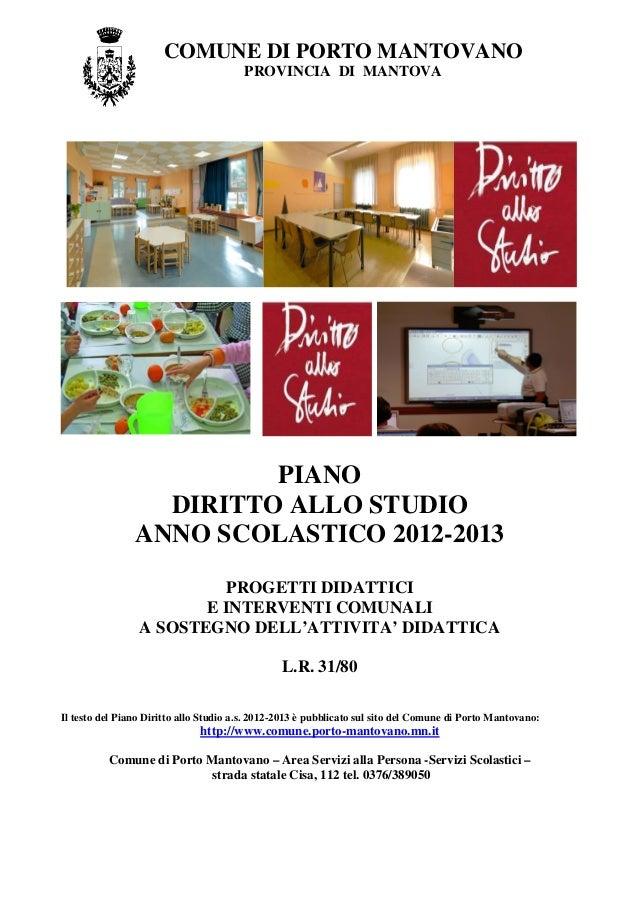 PIANO DIRITTO ALLO STUDIO 2012-2013