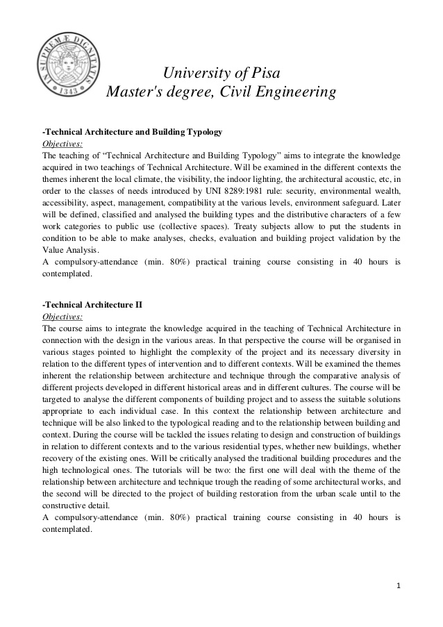 Plane Master's degree, Civil Engineering