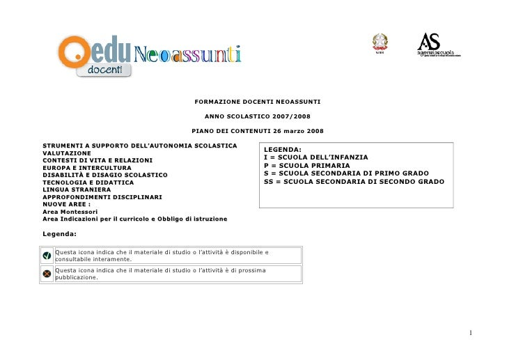 FORMAZIONE DOCENTI NEOASSUNTI                                                         ANNO SCOLASTICO 2007/2008           ...