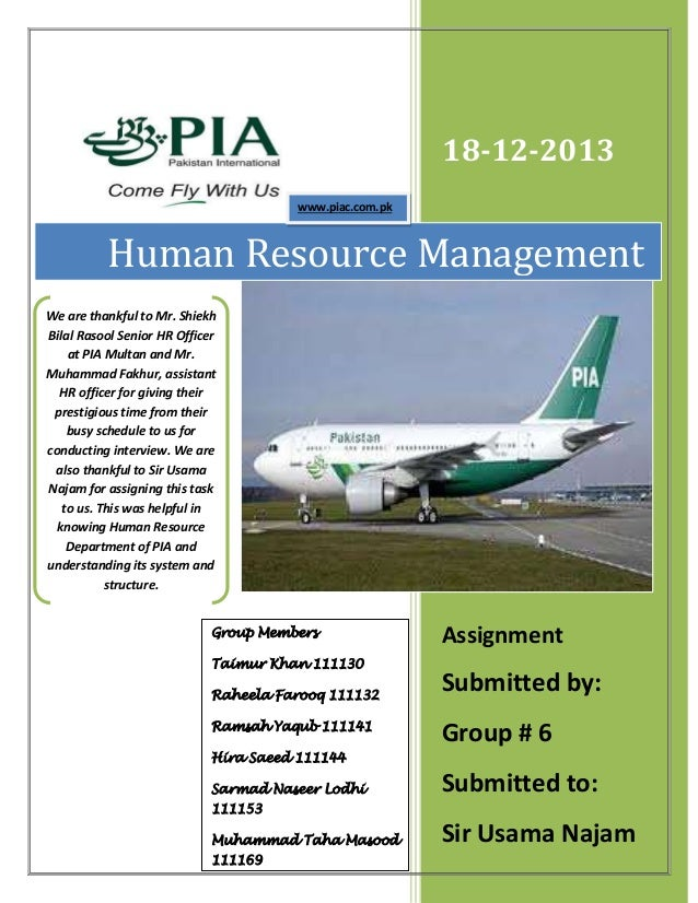 18-12-2013 Assignment Submitted by: Group # 6 Submitted to: Sir Usama Najam Human Resource Management Group Members Taimur...
