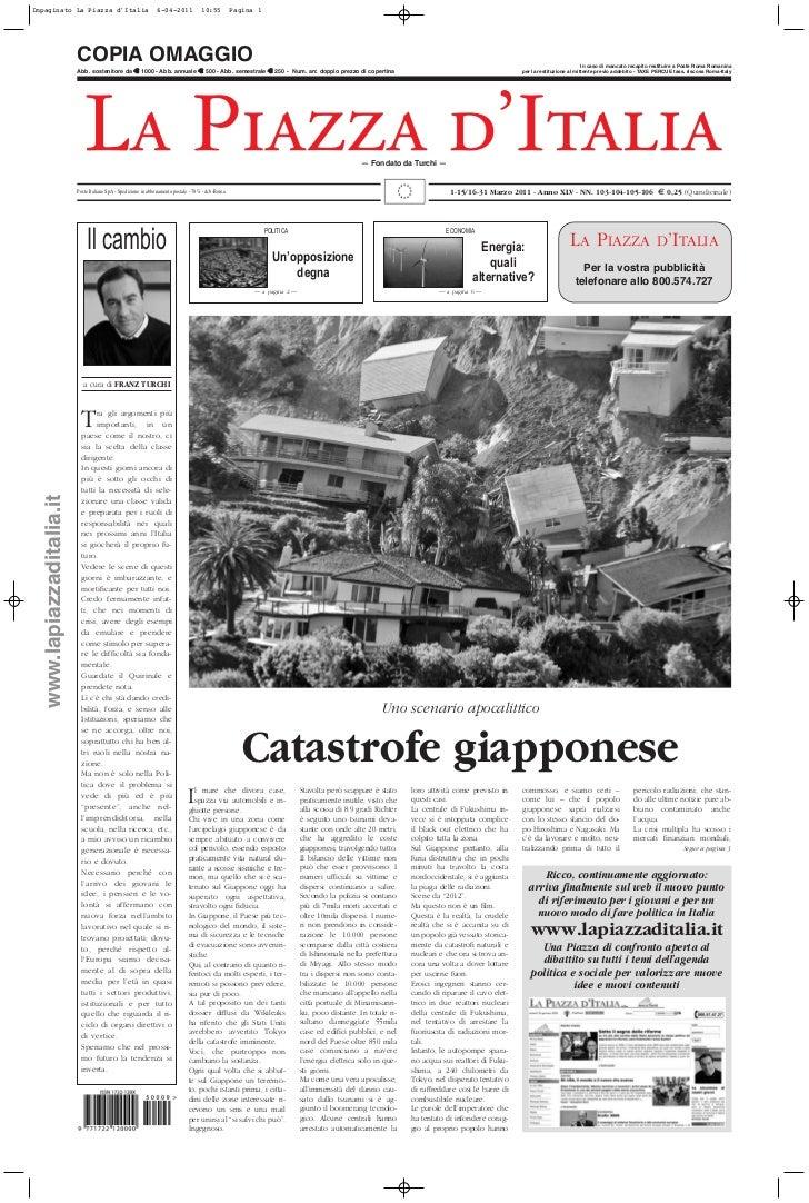Catastrofe giapponese - 1-15/16-31 Marzo 2011 - AnnoXLV - NN. 103 - 104 - 105 - 106