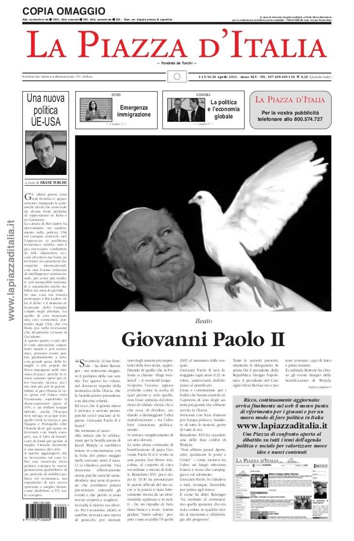 Giovanni Paolo II - 1-15/16-30 Aprile 2011 - Anno XLV - NN. 107 - 108 - 109 - 110