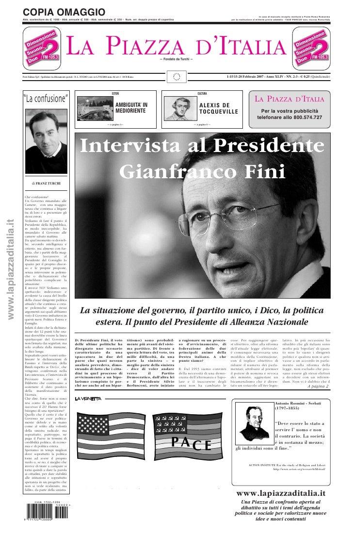 LA PIAZZA D'ITALIA 1-15/15-28 Febbraio 2007 - Anno XLIV - NN. 2-3