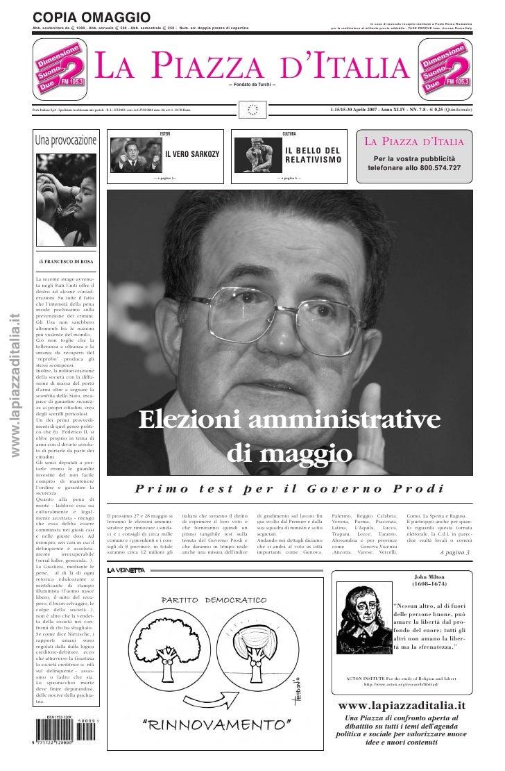 LA PIAZZA D'ITALIA 1-15/15-30 Aprile 2007 - Anno XLIV - NN. 7-8