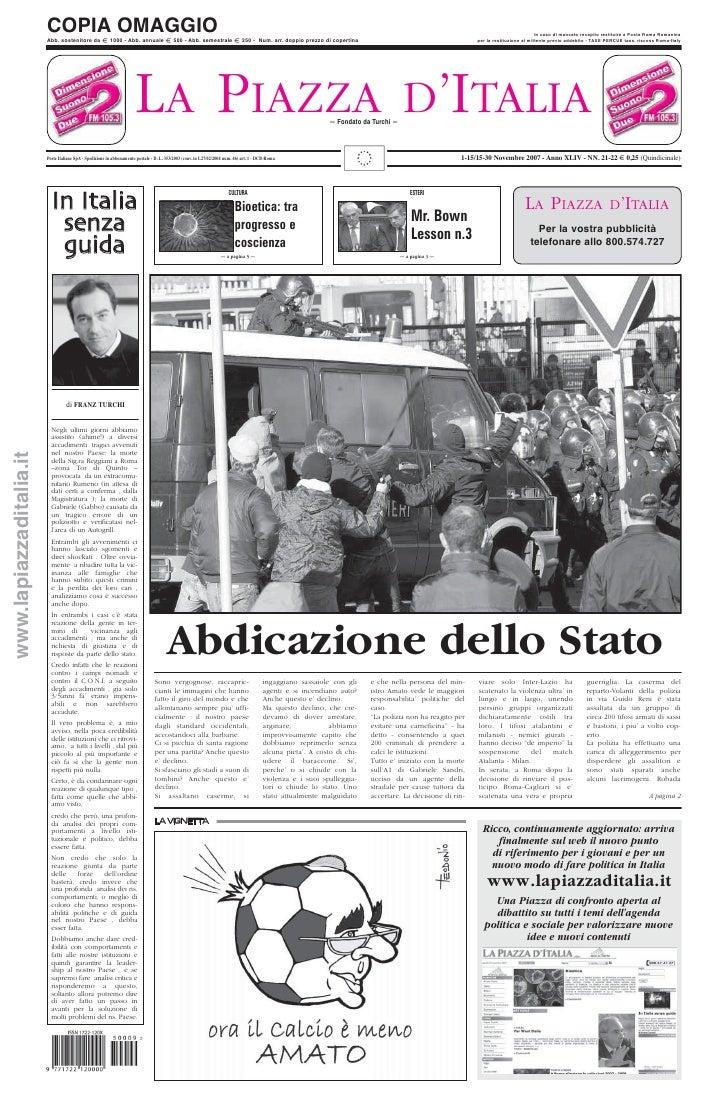 LA PIAZZA D'ITALIA 1-15/15-30 Novembre 2007 - Anno XLIV - NN. 21-22