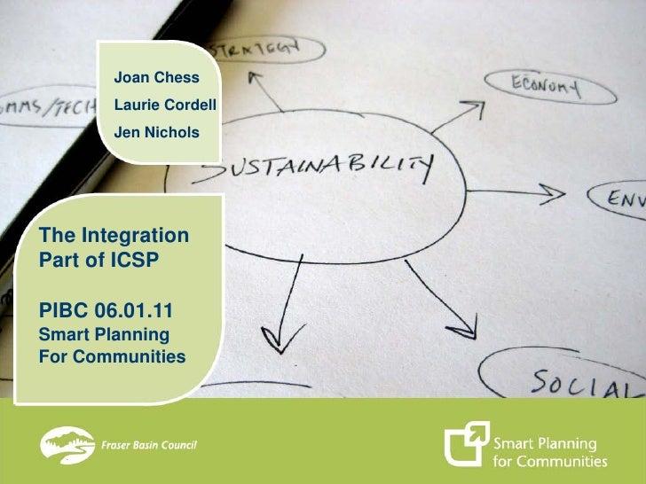 Joan Chess       Laurie Cordell       Jen NicholsThe IntegrationPart of ICSPPIBC 06.01.11Smart PlanningFor Communities