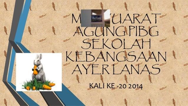 MESYUARAT AGUNG PIBG SEKOLAH KEBANGSAAN AYER LANAS KALI KE -20 2014