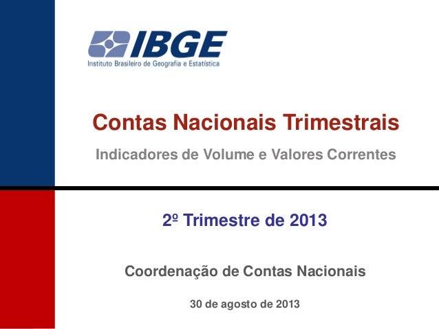 Contas Nacionais Trimestrais Indicadores de Volume e Valores Correntes 2º Trimestre de 2013 Coordenação de Contas Nacionai...