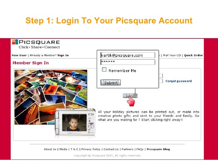 Step 1: Login To Your Picsquare Account
