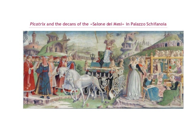 Picatrix and the decans of the salone dei mesi