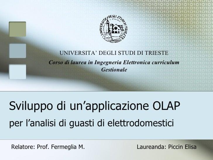 Sviluppo di un'applicazione OLAP per l'analisi di guasti di elettrodomestici UNIVERSITA' DEGLI STUDI DI TRIESTE Corso di l...
