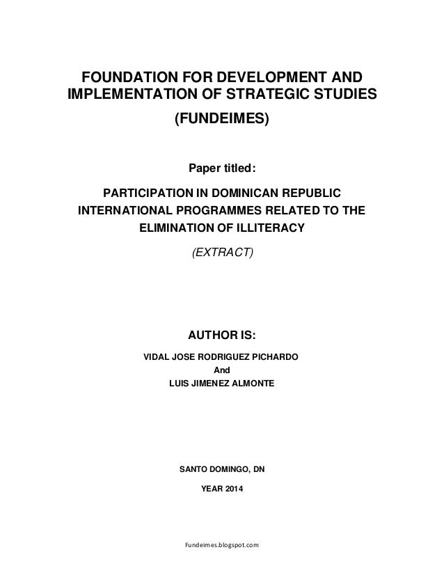 Fundeimes.blogspot.com FOUNDATION FOR DEVELOPMENT AND IMPLEMENTATION OF STRATEGIC STUDIES (FUNDEIMES) Paper titled: PARTIC...